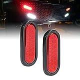 2pc 6' Red Oval LED Trailer Tail Light Kit [DOT FMVSS 108] [SAE STIP] [24 LED] [Grommet & Plug Included] [IP67 Waterproof] [Stop Turn Tail] Trailer Brake Lights for Boat Trailer RV Trucks