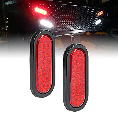 2pc 6 Red Oval LED Trailer Tail Light Kit [DOT FMVSS 108] [SAE STIP] [24 LED] [Grommet & Plug Included] [IP67 Waterproof] [Stop Turn Tail] Trailer Brake Lights for Boat Trailer RV Trucks