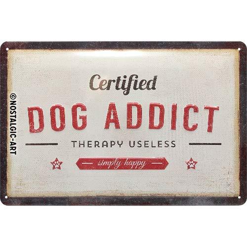 Nostalgic-Art Retro Blechschild PfotenSchild-Dog Addict – Geschenk für Hunde-Besitzer, aus Metall, Vintage-Design zur Dekoration, 20 x 30 cm