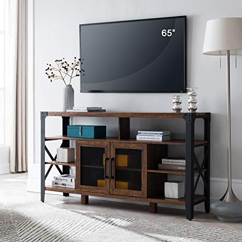 OKD TV Console Large Industrial Entertainment Center Rustic Tall Wood TV Stand Cabinet for 65 Inch TV, with Sturdy Side Metal X-Frame, for TVs Up to 70 Inch, Reclaimed Barnwood Color
