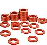 35 Packungen Gartenschlauch Unterlegscheiben Silikonkautschuk Unterlegscheiben Dichtungen O-Ringe Rot Weiche Silikondichtung Armaturen für 3/4 Zoll Gartenschlauch und Wasserhahn
