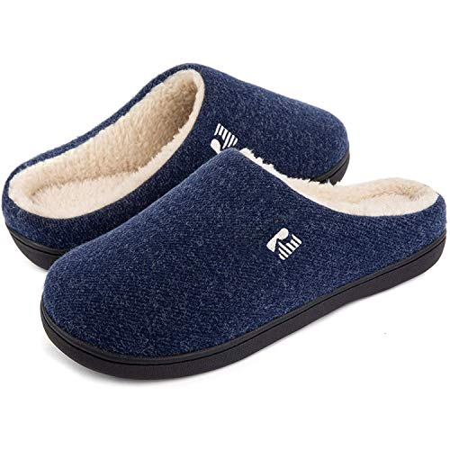 RockDove Men's Original Two-Tone Memory Foam Slipper, Size 7-8 US Men, Blue/Natural