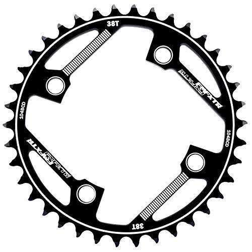 Sxgyubt 104BCD - Biela de bicicleta (forma redonda, 32T/34T/36T/38T, bicicleta de montaña, plato único, 38 dientes), color negro