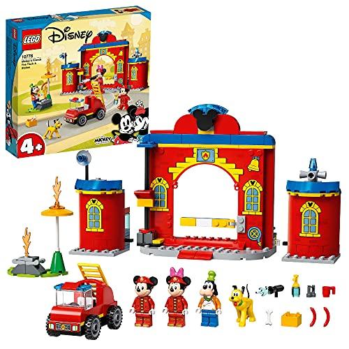 LEGO 10776 Mickey and Friends Mickys Feuerwehrstation und Feuerwehrauto, Micky Maus Spielzeug zum Bauen für Kinder ab 4 Jahre