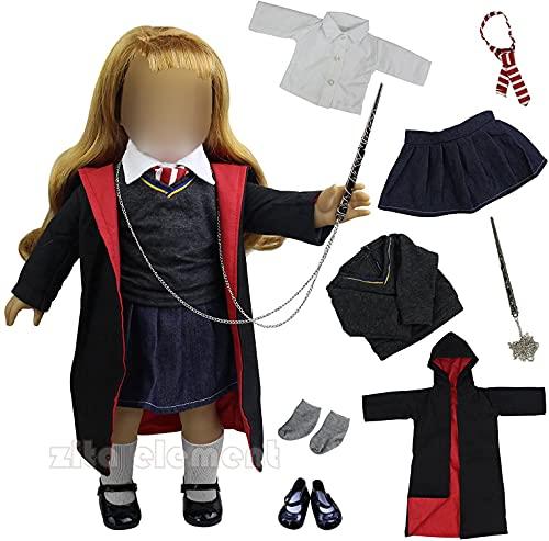 ZITA ELEMENT 8 Stück Set Puppen Kleidung für American 18 zoll Girl und die anderen 45-46cm Puppen Set Magic Kleider Karneval Halloween Kostüm Cosplay Mantel Hemd Krawatte mit Schuhe