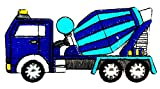 Cement Truck Blue Kids Cartoon Patch 2.2X1.2 in MEGADEE Patch Badge MotoGP Racing Vintage Classic Biker Racer Club Sew Iron on Logo Embroidered (Car Cartoon 022)