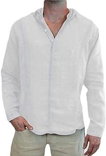 YYG Men's Cotton Linen Solid Color Hoodie Casual Shirt Long Sleeve Shirt