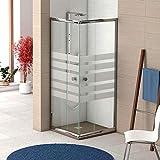 Mampara de ducha angular con 2 hojas fijas y 2 hojas correderas con cristal templado decorado de seguridad de 6mm modelo Bricodomo Ecija 70X90