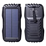 Friengood Solar Charger, Portable 25000mAh Solar Power Bank, Waterproof Solar External Battery Pack with Dual USB Ports and Flashlight for iPhone, iPad, Samsung, Android Phones and More (Black)