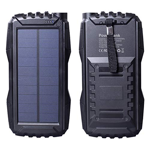 Chargeur solaire 25000 mAh, Friengood portable avec double port USB, chargeur de batterie solaire d'extérieur avec lampe de poche LED pour iPhone, iPad, téléphones portables Android et plus (Noir)