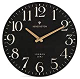NIKKY HOME Farmhouse Wall Clock Silent Non Ticking - 12 Inch Quartz Battery Operated Vintage Wooden Round Black Clock Home Decor for Kitchen, Living Room, Bedroom, Office