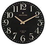 NIKKY HOME Redondas Reloj de Pared Stille Cuarzo Analog Francia Retro Estilo de Vintage Handgemachte Decorativa Madera 30 cm Negro