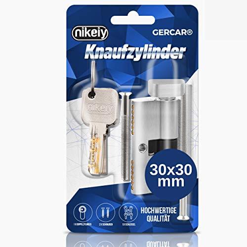 GERCAR Cilindro de cierre macizo 30/30 con pomo y cerradura de cilindro para puerta, de latón niquelado mate, incluye 5 llaves, longitud: 60 mm, A: 30, B: 30