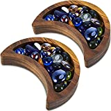 2 Pieces Crescent Moon Tray Crystal Display Tray Decorative Wooden Moon Tray Wooden Crystal Organizer Walnut Wood Decor Tray for Jewelry Essential Oil Crystal and Stone, 5.9 x 3.15 Inch
