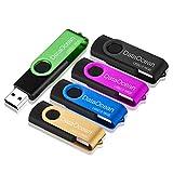 5 Piezas PenDrives 16GB DataOcean Memorias USB 2.0 Giratoria Pen Drive 16 GB Unidad Flash(5 Colores Mezclados: Negro Rosa Verde Amarillo Azul)