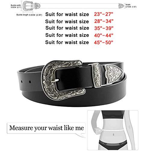 Ladies Vintage Western Design Black Waist Belt 4