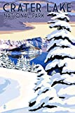 Crater Lake National Park, Oregon - Winter Scene (9x12 Art Print, Wall Decor Travel Poster)