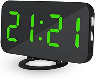 Yeefant High Sensitive Light Sensor LED Digital Alarm Clock with USB Port for Charger Touch-Activited Snooze,Outlet Powered and Battery for Most Smartphone and Android Phone Charging,White,US Charger
