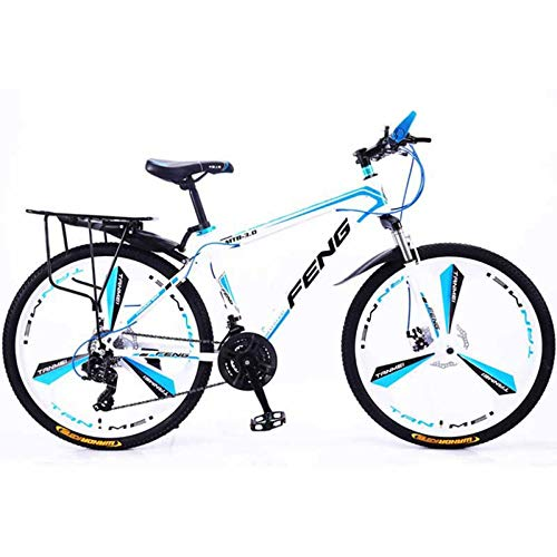 LINGJIE Outdoor Mountain Bikes, Mountain Bikes for Teenagers and Adults, 26 Inch Men's Mountain Bikes, High-Carbon Steel Hardtail Mountain Bike,Whiteblue-24speed-threeknifewheel