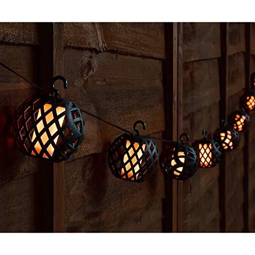 Guirnalda de luces de estilo marroquí, funciona con energía solar, efecto de llama ámbar, decoración de jardín al aire libre