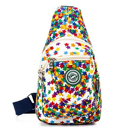 Travel Crossbody Sling Bags For Women Single Waterproof Sling Shoulder Backpack For Kids Girl - White