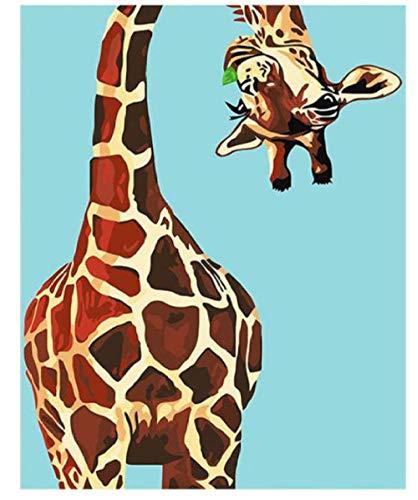 FGHJSF Pintar por Numeros Jirafa Animal Lienzo Pintura al óleo para Adultos y Niños DIY Pintura al Óleo por Números Decoración del Hogar - 40 x 50 cm (Sin Marco)