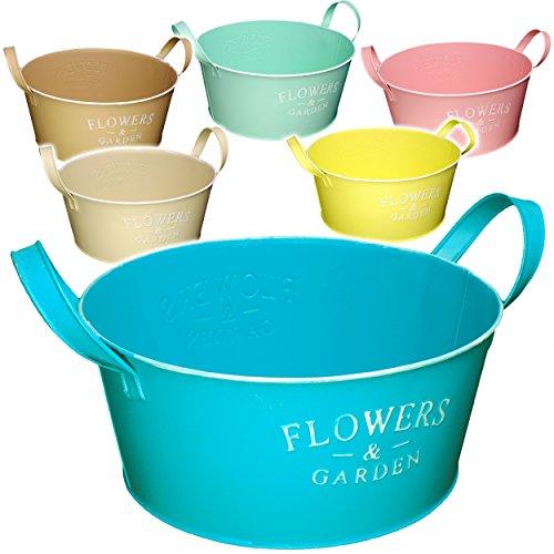 alles-meine.de GmbH 1 Stück _ XL Design - Blumentopf / Pflanzkübel / Pflanzschale - Metall -  Flowers & Garden - bunter Farbmix - Pastell  - Ø 28 cm - RUND - GROß - mit Henkel ..