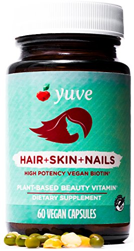Yuve Natural Biotin 5000 mcg Vitamin - Longer, Stronger, Healthier Hair - Glowing Skin and Strong Nails Growth - Vegan, Non-GMO, Gluten-Free - High Potency Vitamin B7 Supplement - 60 Veggie Caps