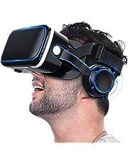 """Realidad Virtual Todo en uno Smart VR Headset 3D VR Gafas para películas Videojuegos FOV 120 ° VR Goggles para Android iPhone 4.7""""- 6.5"""" Pantalla Smartphone,Azul"""