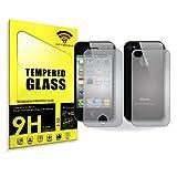 actecom® Protector DE Pantalla 9H 2.5D para iPhone 4 4S Doble Delantero Y Trasero Cristal Vidrio Templado