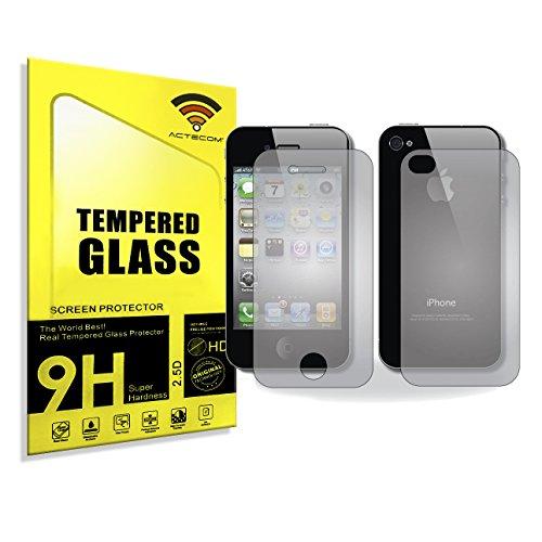 actecom® Protector DE Pantalla 9H 2.5D para iPhone 4 4S Doble Delantero...