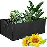 LACKINGONE 5 bolsas de cultivo para plantas, macetas de tela con asas, resistentes, ventilación, gruesas, para verduras, flores, plantas