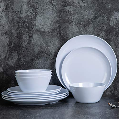 Juego de vajilla de melamina, 12 platos y cuencos para uso en interiores y exteriores, apto para lavavajillas, color blanco
