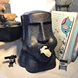 APAN Funny Moai Tissue Box Keep Stone Face Tissue Box Cover Statue Easter Island Sculpture for Office Desk Living Room Black 19x17x26.5cm(7x7x10inch)