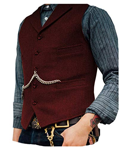 Solove-Suit. Chaleco de traje clásico para hombre, patrón en espiga, corte entallado, solapa de punto - blanco - XX-Large