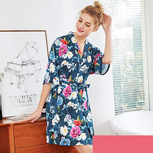Hadishi Damen Sommerbademäntel, aus Seidenmaterial Mittelärmelige Brautkleider, Home Robe Bademäntel Pyjama V-Ausschnitt Design (M-XXL),H,M