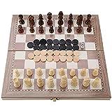 LVLUOKJ Juego de ajedrez de Madera,3 en 1 Placa de ajedrez Plegable magnético,Juguete portátil de Mesa de Viaje