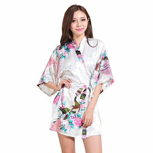 Mujer Pijama Lencería Kimono Corto de Satén de Estampado Florres (Blanco, Large)