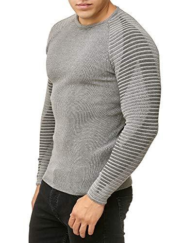 Redbridge Pulóver de Punto para Hombres Jersey Acanalado Suéter Dlim Fit Design Diamond Gris M