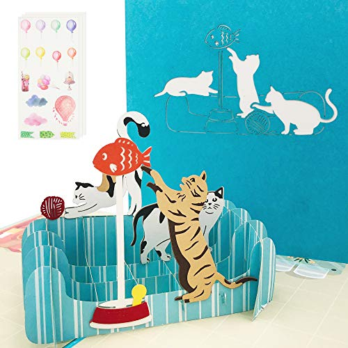 Ribbli Cat 3D Pop Up Card,Greeting Card,Thank You Card,Anniversary Card,Animal, For Birthday,Father's Day,Mother's Day,Valentine's Day,Wedding,Graduation,Thanksgiving,Christmas,Any Occasion
