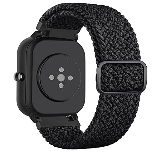 DEOU 20mm Correa Compatible con Amazfit Bip Amazfit GTS/GTS 2,Ajustable Trenzada Elástica con Hebilla Pulseras de Repuesto para Xiaomi Huami Amazfit Bip Lite Amazfit GTR 42mm Watch(Negro)
