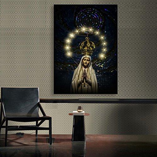 Qiulv Impresión Lienzo LED Lienzo Con Luz Leds Fibra Óptica Pintura Pintura Arte Pared Iluminar Decoración Casera Moderna Bendita Virgen María Diosa,40X60cm