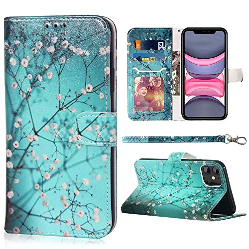JanCalm Compatible with iPhone 11 Wallet Case, Floral Pattern Premium PU Leather [Wrist Strap] [Card/Cash Slots] Stand Feature Flip Cases Cover for iPhone 11 Case (2019) (Plum Blossom)