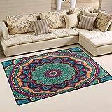 werert Green and Orange Mandala Doormat Floor Mat Alfombra Indoor/Outdoor/Front Door/Bathroom Mats 23.6'(L) x 15.7'(W) Non Slip