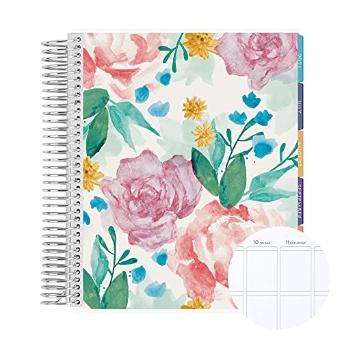 """18 Month 7"""" x 9"""" Spiral Coiled Vertical Weekly Life Planner/Agenda (July 2021 - December 2022). Watercolor Blooms Flexible Cover, Just My Type Coloful Interior Design by Erin Condren"""