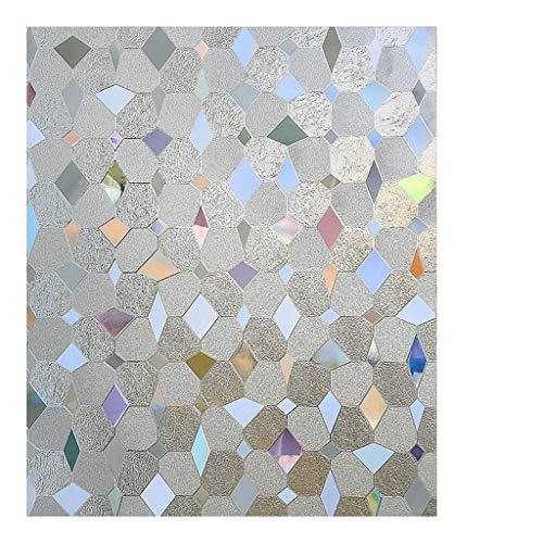 MSNDIAN Raamfolie, Geometrische Glasfolie, Niet-klevende Statische Cling Window Film, Privacy UV Bescherming Raamfolie, Geschikt voor Keuken Kantoor Badkamer Woonkamer