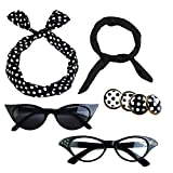 Aneco 6 Pack 50s Set Chiffon Scarf Cat Eye Glasses Bandana Tie Headband Earrings Black