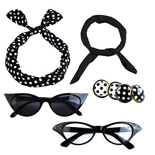Aneco 6 Pack 50s Set Chiffon Scarf Cat Eye Glasses Bandana Tie Headband Earrings