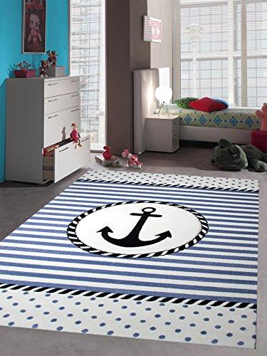 Kinderteppich Maritim Kinderzimmerteppich Jungen Teppich mit Anker in Blau Creme Größe 80x150 cm