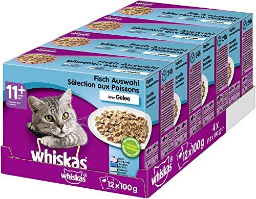 Whiskas 11 + Katzenfutter – Fleischauswahl in Gelee – Leicht verdauliches Katzenfutter ab 11 Jahren und älter – 48 Portionsbeutel à 100g